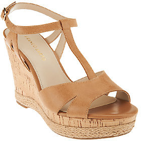 Franco Sarto Leather T-strap Wedges - Swerve $33.73 thestylecure.com