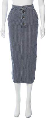 MiH Jeans Striped Midi Skirt