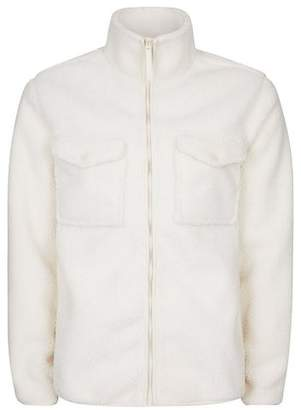 Topman Mens White Textured Borg Jacket