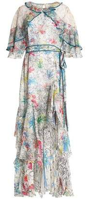 Peter Pilotto Ruffled Printed Silk-Chiffon Maxi Dress