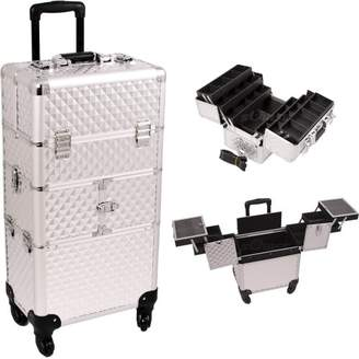 30.5 inch 360 Degree Rotating Wheels Rolling 2 in 1 Pattern Travel Professional Makeup Trolley w/Extendable Trays