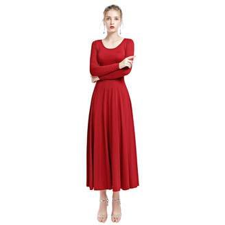 OwlFay Women Solid Long Sleeve Full Length Loose Fit Swing Liturgical Dance Dress Worship Tunic Circle Skirts L