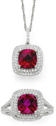 JCPenney FINE JEWELRY Lab-Created Ruby & White Sapphire Sterling Silver 2-pc. Boxed Jewelry Set