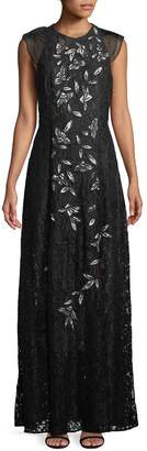 Sachin + Babi Kennedy Floral Embroidery Lace Gown