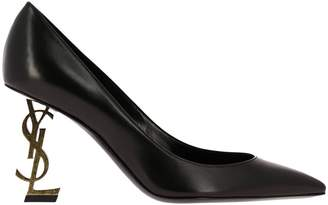 Saint Laurent Pumps Opyum Shoes Pumps In Brushed Leather With Textured Metal Heel