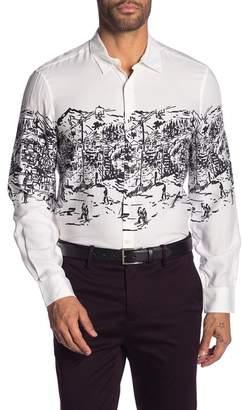 Perry Ellis Patterned Long Sleeve Slim Fit Shirt