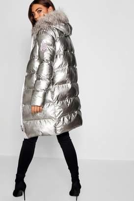 boohoo Metallic Longline Puffer Jacket