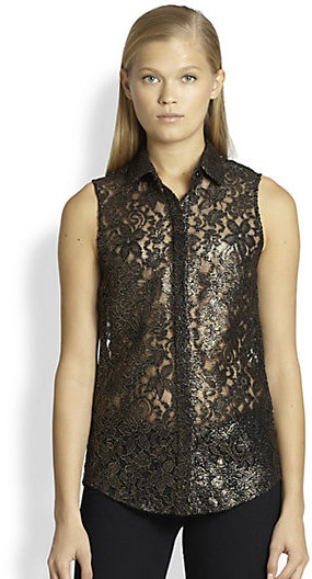 Torn By Ronny Kobo Torn Ronit Metallic Lace Shirt