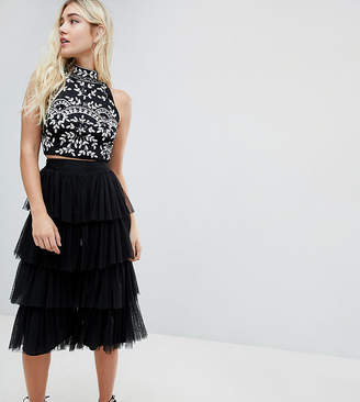 Lace and Beads Lace & Beads tierred tulle culottes in black
