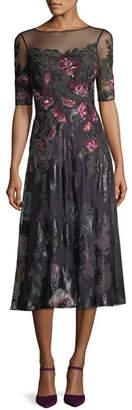 Rickie Freeman For Teri Jon Floral-Embroidered 1/2-Sleeve Tulle Cocktail Dress