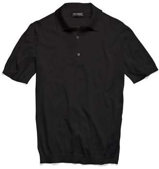 John Smedley Sweaters Adrian Sea Island Cotton Polo in Black