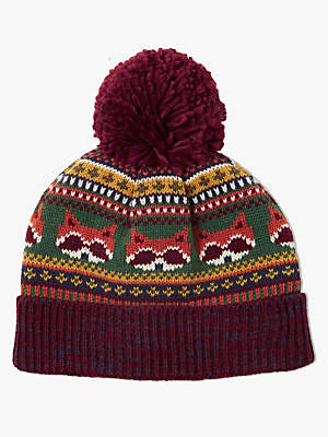 John Lewis Children's Fox Beanie Hat, Burgundy