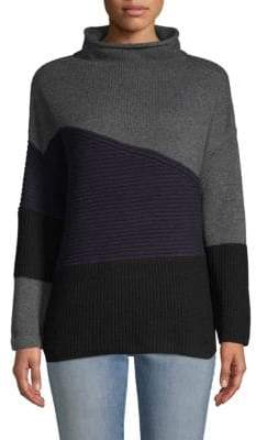 French Connection Colorblock High-Neck Wool Blend Sweater