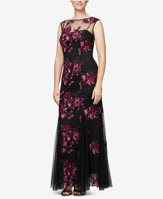 Alex Evenings Embroidered Illusion Gown, Regular & Petite