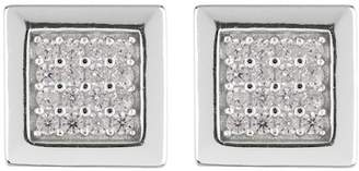 Argentovivo Sterling Silver CZ Pave Square Stud Earrings