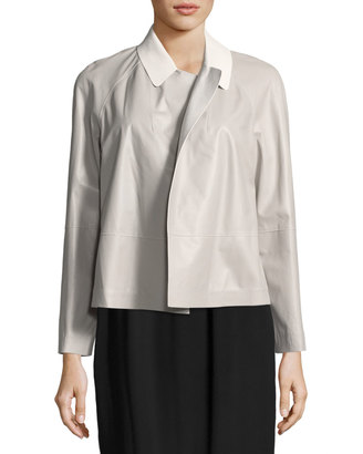 Lafayette 148 New York Callan Two-Tone Leather Jacket $749 thestylecure.com