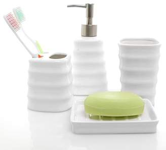 4 Piece Ribbed White Ceramic Bathroom Accessory Set w/ Toothbrush Holder