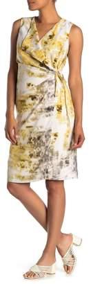 Kenneth Cole New York Waterfall Wrap Sleeveless Satin Dress