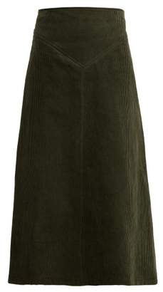 Awake A Line Cotton Corduroy Midi Skirt - Womens - Dark Green
