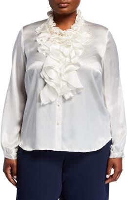 Go Silk Plus Size Ruffle Silk Blouse w\/ Dolphin Hem