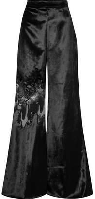 Cushnie - Lace-paneled Velvet Wide-leg Pants - Black