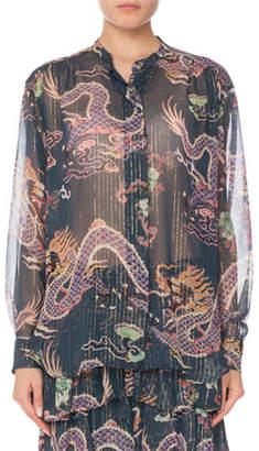 Isabel Marant Long-Sleeve Button-Front Dragon-Print Silk Blouse