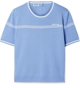 Miu Miu Intarsia Stretch-knit Sweater - Light blue