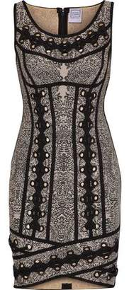 Herve Leger Agnese Lace-Up Jacquard-Knit Bandage Mini Dress