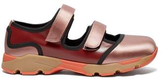 Marni Tri Colour Satin And Leather Trainers - Womens - Pink