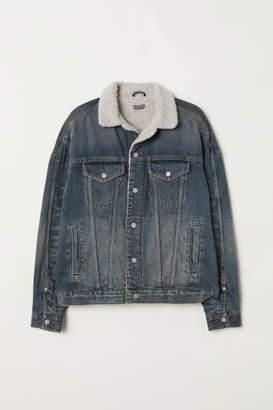 H&M Pile-lined Denim Jacket - Blue