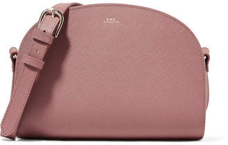 A.P.C. Demi-lune Textured-leather Shoulder Bag - Antique rose