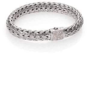 John Hardy Classic Chain Diamond& Sterling Silver Large Bracelet