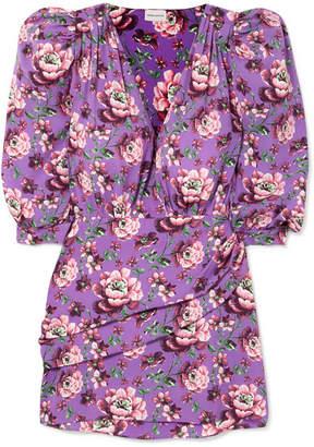 Magda Butrym Faro Wrap-effect Floral-print Crepe De Chine Mini Dress - Violet
