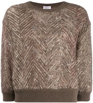 Brunello Cucinelli chevron pattern knitted jumper