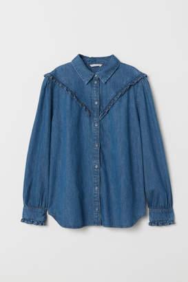 H&M Denim Shirt with Ruffles - Blue