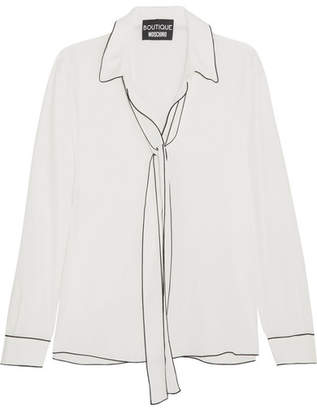 Boutique Moschino - Pussy-bow Crepe De Chine Blouse - White $495 thestylecure.com