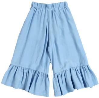 Ruffled Viscose Wide Leg Pants