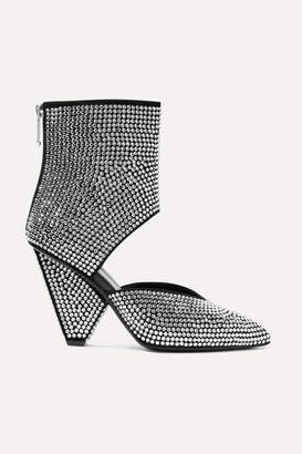 Balmain Livy Cutout Crystal-embellished Leather Ankle Boots - Silver