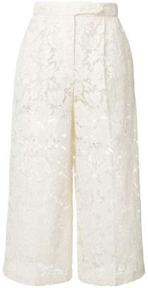Valentino sheer lace cropped trousers