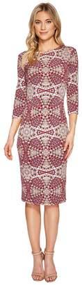 London Times 3/4 Sleeve Fitted Sheath Women's Dress