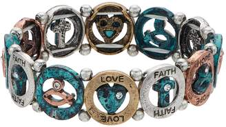 """Believe In Simulated Crystal """"Love, Faith, Hope"""" Stretch Bracelet"""
