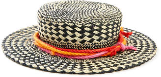 Giovannio Straw Boater Hat Open Weave