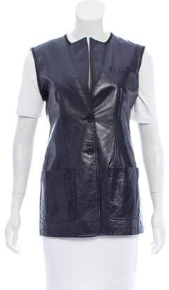 Max Mara Leather Button-Up Vest
