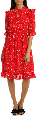 Queen Of Hearts Double Bow Neck Frill Sleeve Dress