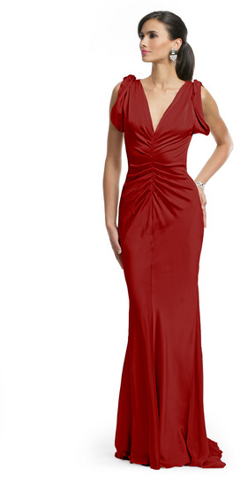 Vera Wang Red Ruched Glamour Gown
