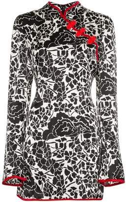 De La Vali Sake Floral Printed Silk Dress