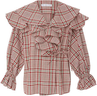 Rejina Pyo Ruffled Checked Cotton-Poplin Wrap Blouse