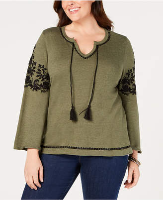 Style&Co. Style & Co Plus Size Embroidered Peasant Sweater