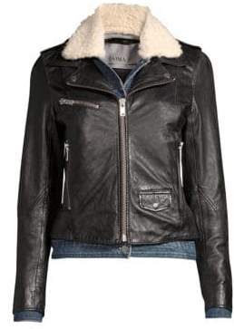Doma Denim& Faux Shearling Leather Moto Jacket
