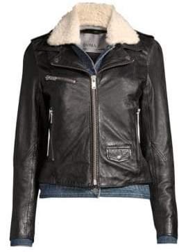 Doma Women's Denim& Faux Shearling Leather Moto Jacket - Black - Size Medium